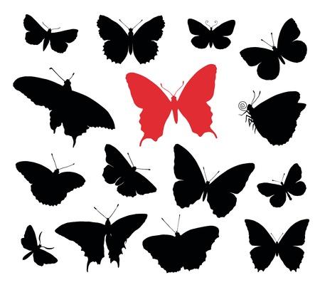 Mariposa colección siluetas aisladas en fondo blanco.