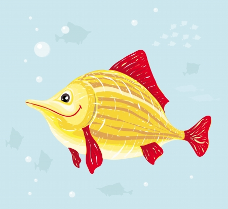 Smiling yellow cartoon fish on sea background. Vector illustration Vector