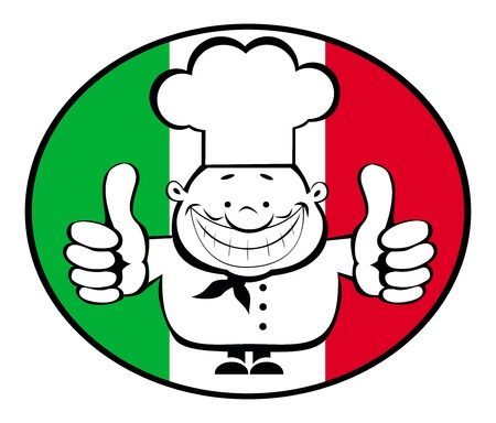 Cartoon smiling chef showing thumbs up on italian flag background. Separate layers