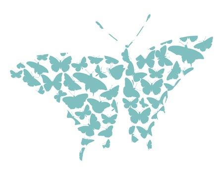 silhouette papillon: Papillon silhouettes collection isolée sur fond blanc eps8 Illustration