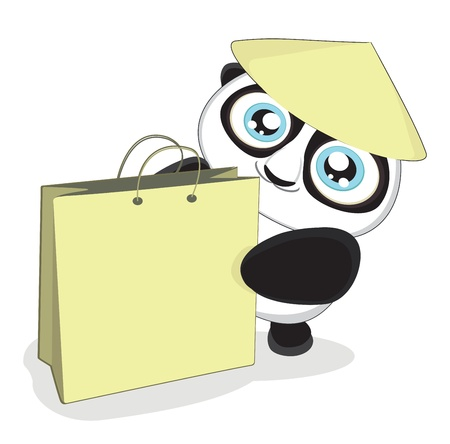 bewildered: Cute cartoon panda with bag.Vector illustration eps8