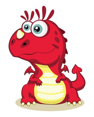 Red cartoon dragon isolated. Vector EPS 8. 5000x6215 Vector