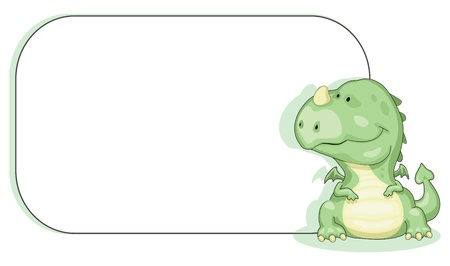 Cartoon dragon with copy space. Illustration
