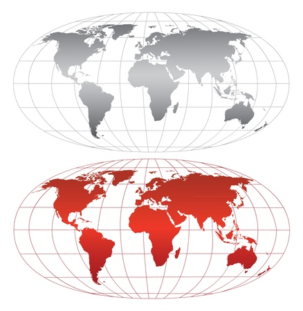 hemispheres: High detailed world map.Separate layers Illustration