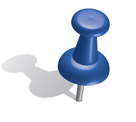 3d blue push pin. Vector