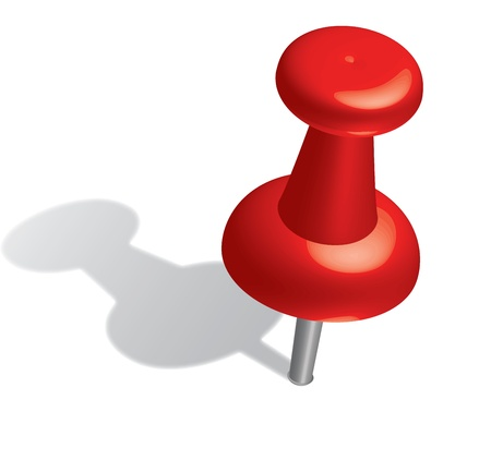 board pin:  3d red push pin.