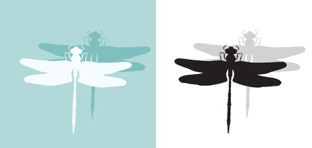 Silhouette of dragonfly.  Vector