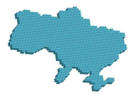 Doted map of Ukraine 3d. Vector