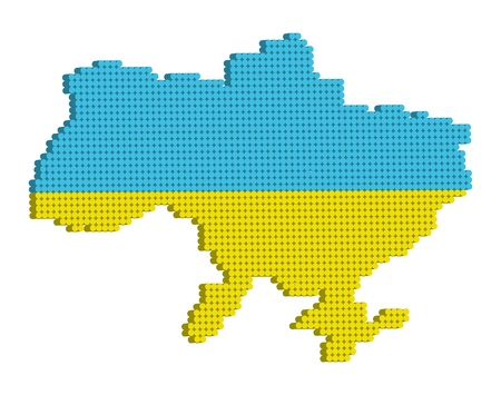 Vector doted map of Ukraine 3d. Vector