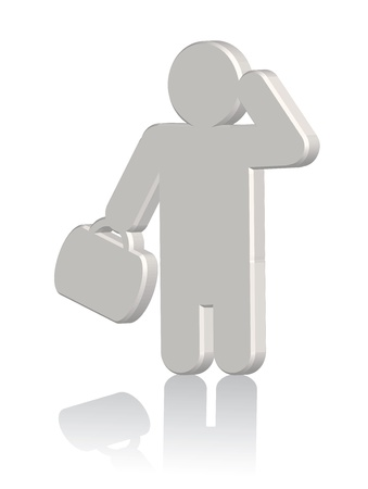 owning: 3d businessman with case thinking. Vector Illustration
