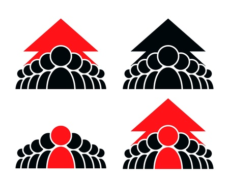 distinguish: Concept team. Stylized group of people and arrow.