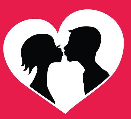 novios besandose: Besos ni�o y ni�a siluetas en el fondo en forma de coraz�n. Vectores