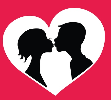 amorous: Kissing boy and girl   silhouettes in heart shape background.