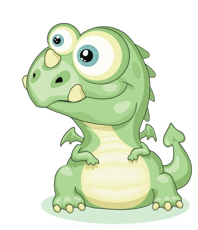 Cute cartoon dragon . Vector