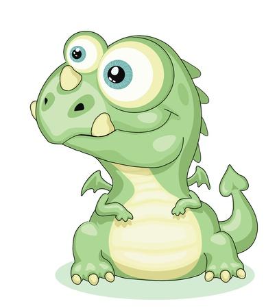 infant: Cute cartoon dragon . Illustration