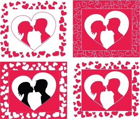 Kissing couple   silhouette in heart shape background 6578x5587. Vector