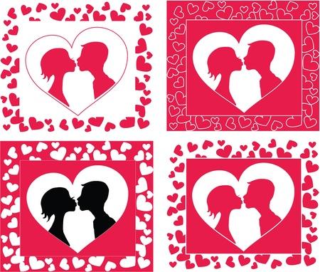 innamorati che si baciano: Kissing silhouette coppia 6578x5587 sfondo forma di cuore.