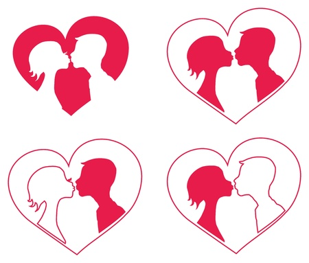 romanticist: Kissing boy and girl   silhouettes in heart shape background.   Illustration