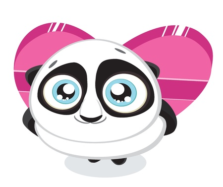 Cute  panda hiding heart shaped gift box isolated.  Vector