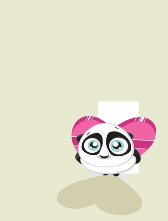 Cute  panda hiding heart shaped gift box with copy space 5000x6553.  Vector