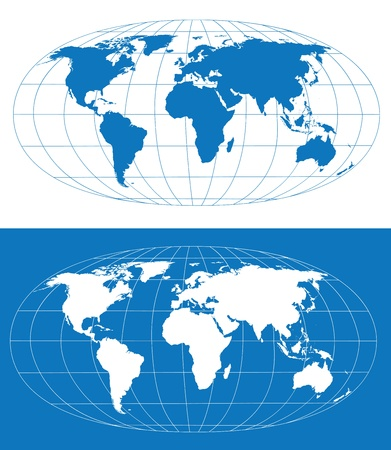 hemisphere: Vector world map with grid. Separate layers