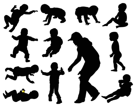 mother holding baby: Baby silhouettes collection.  Illustration