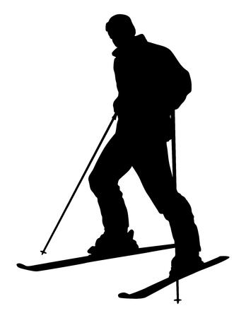 mountain skier: Skier silhouette isolated