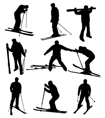 mountain skier: Ski silhouettes collection.  Illustration