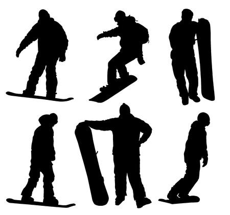 Snowboard silhouettes collection. Vector eps8 Vector