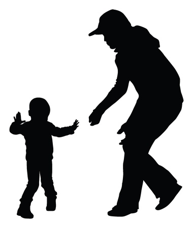 Silhouettes of mother and toddler learning to walk Ilustração