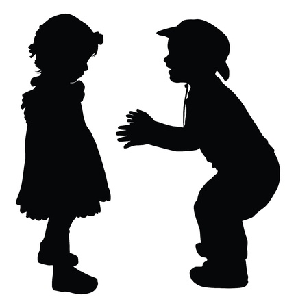 black baby boy: Silhouettes of boy and girl playing Retro style  Illustration