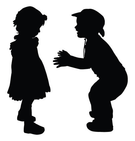 siluetas de enamorados: Siluetas de los niños y niñas jugando al estilo retro Vectores