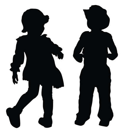 Silhouettes of boy and girl playing Retro style Vector