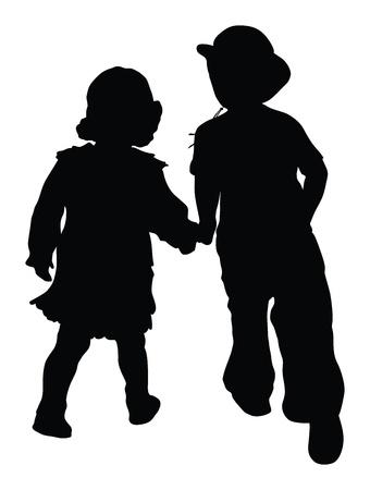 dattelpalme: Silhouetten von Jungen und M�dchen laufen H�ndchen haltend Retro-Stil Illustration