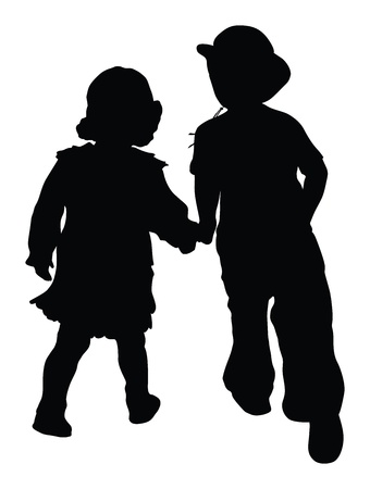 Silhouettes of boy and girl running holding hands   Retro style  Vector