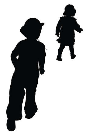 Silhouettes of boy in cowboy hat and girl running   Retro style   Vector