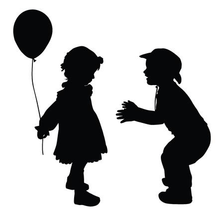 dattelpalme: Silhouetten der Junge in Cowboy-Hut und M�dchen mit Ballon-Retro-Stil Illustration