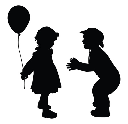 Silhouettes of boy in cowboy hat and girl with baloon  Retro style  Vector