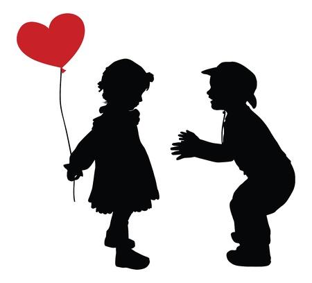 siluetas de enamorados: Siluetas de niño en el sombrero de vaquero y una niña con el corazón en forma de globo de estilo retro de color rojo