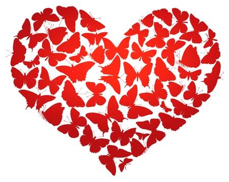 Herz aus Schmetterlingen isoliert
