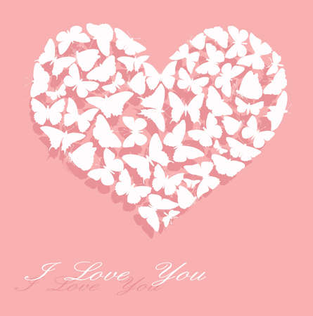 White heart made of  butterflies with text on pink background   Vector