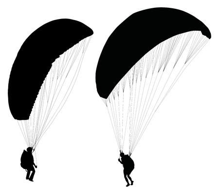 parapente: Silhouetten van de paraglider op de grond voorbereiden voor het uittrekken Stock Illustratie