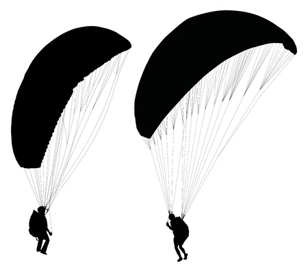 paragliding: Silhouettes of paraglider on ground preparing before taking off   Illustration