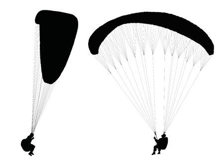 parapente: Siluetas de los parapentes vuelan Vectores