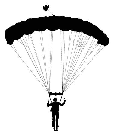 parapente: Skydiver silhouet