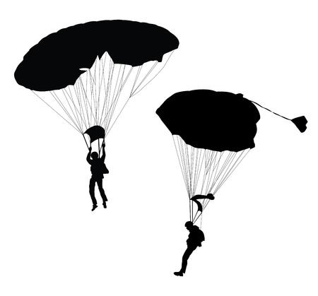 fallschirm: Silhouette der Fallschirmspringer vor der Landung Illustration