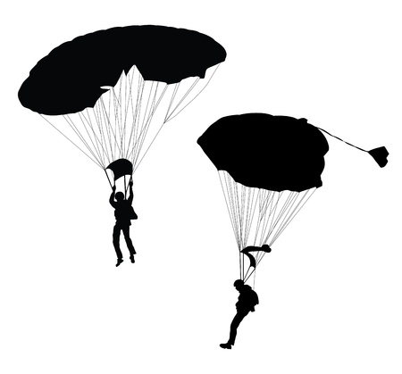 Silhouette of skydiver before landing   Vector