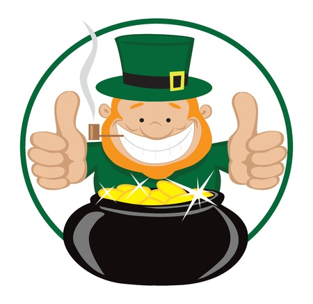 Cartoon leprechaun with gold coin pot showing thumbs up   Vector