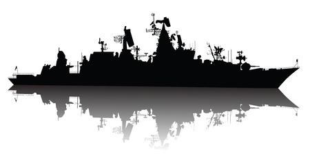 radar gun: Sovi�tica de Rusia de misiles guiados crucero de la silueta Vectores