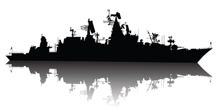 fleet: Soviet  russian  guided missile cruiser  silhouette Illustration